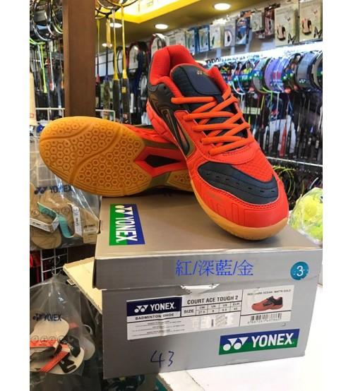 Yonex Court Ace Tough 2 紅藍金色 羽毛球鞋 (碼數: 38-39.5, 40.5-45)包运费价,不包税.( 香港及大陆地区) <<赠品 : 袜子1双(价值HK$45.-) 送完即止>>