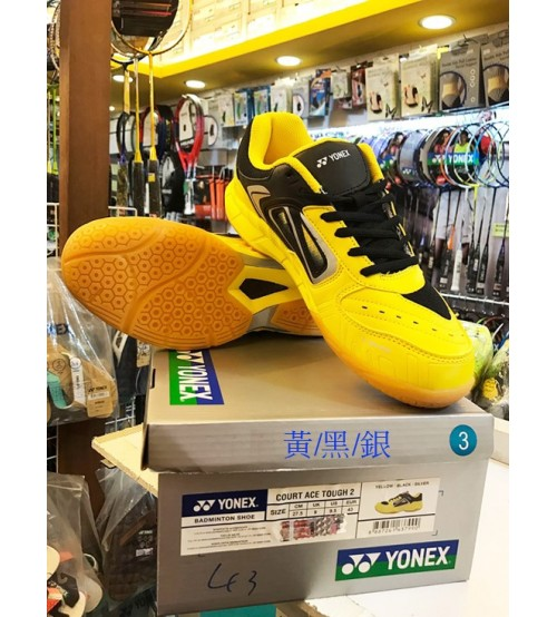Yonex Court Ace Tough 2 黃黑銀色 羽毛球鞋 (碼數: 38-45)包运费价,不包税.( 香港及大陆地区) <<赠品 : 袜子1双(价值HK$45.-) 送完即止>>